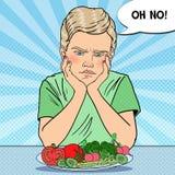 Criança virada com a placa de legumes frescos Comer saudável Ilustração retro do pop art ilustração do vetor