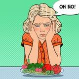 Criança virada com a placa de legumes frescos Comer saudável Ilustração retro do pop art ilustração stock