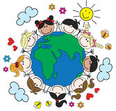 Crianças étnicas misturadas em todo o mundo Fotos de Stock Royalty Free