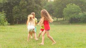 Crianças alegres que jogam a etiqueta na grama em um dia de verão vídeos de arquivo