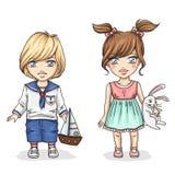 Crianças bonitos com brinquedos Imagens de Stock Royalty Free