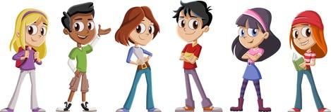 Crianças bonitos dos desenhos animados com livros Estudantes do adolescente ilustração royalty free