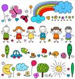 Crianças bonitos e teste padrão dos elementos da natureza Imagens de Stock