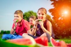 Crianças bonitos que comem a melancia em um dia ensolarado imagens de stock royalty free