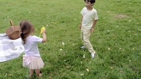 Crianças bonitos que fundem bolhas e que jogam junto fora video estoque