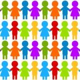 Crianças coloridas sem emenda que guardam as mãos Imagens de Stock