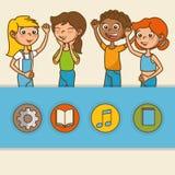 Crianças com ícones da educação ilustração royalty free