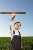 Crianças com airplan Fotos de Stock Royalty Free