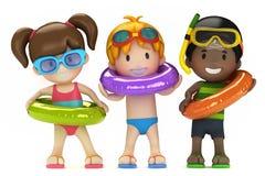 Crianças com anel inflável Fotografia de Stock