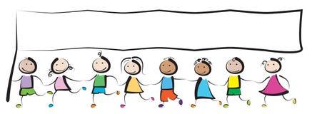 Crianças com bandeira ilustração royalty free