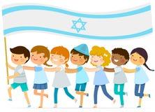Crianças com a bandeira israelita grande Fotos de Stock Royalty Free