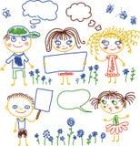 Crianças com bandeiras e flores Imagens de Stock Royalty Free