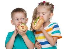 Crianças com cachorros quentes Fotografia de Stock Royalty Free
