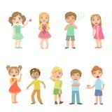 Crianças com coleção das doenças ilustração do vetor