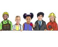 Crianças com conceitos profissionais da ocupação foto de stock royalty free