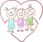 Crianças com coração ilustração royalty free