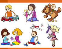 Crianças com grupo dos desenhos animados dos brinquedos Fotografia de Stock Royalty Free