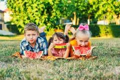 Crianças com melancia em um piquenique fotografia de stock royalty free