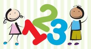 Crianças com números Imagens de Stock