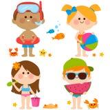 Crianças com os roupas de banho que jogam na praia Coleção do vetor ilustração stock
