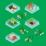 Crianças com pais no parque exterior do jardim zoológico com animais Ilustração 3d lisa isométrica ilustração do vetor