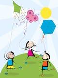 Crianças com papagaios ilustração royalty free