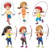 Crianças com passatempos diferentes ilustração stock