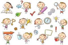 Crianças com símbolos ilustração royalty free