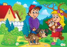 Crianças com tema 2 dos animais de estimação Fotografia de Stock