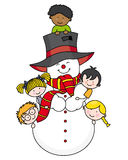 Crianças com um boneco de neve Imagem de Stock