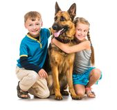 Crianças com um cão-pastor Foto de Stock Royalty Free