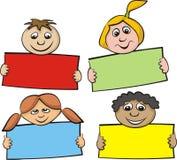 Crianças com um pedaço de papel Fotografia de Stock