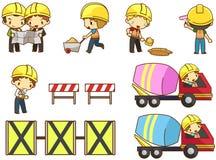 Crianças coordenador, técnico, e funcionamento dos desenhos animados do trabalhador do trabalho Fotografia de Stock