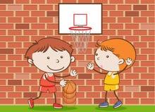 Crianças da garatuja que jogam o basquetebol na escola ilustração do vetor
