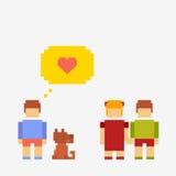 Crianças da ilustração do pixel Ilustração do Vetor