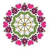 Crianças da mandala com flores e corações Foto de Stock Royalty Free