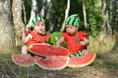 Crianças da melancia Fotos de Stock Royalty Free