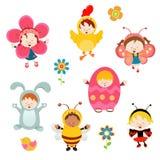 Crianças da mola com trajes Imagem de Stock Royalty Free