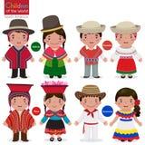 Crianças da mundo-Bolívia-Equador-Peru-Venezuela ilustração stock