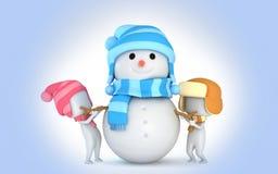 Crianças da neve do inverno do boneco de neve 3d Imagens de Stock Royalty Free