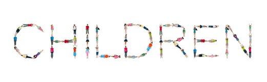 Crianças da palavra do alfabeto das crianças do mundo Fotos de Stock Royalty Free
