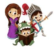 Crianças da princesa e do dragão do cavaleiro Foto de Stock