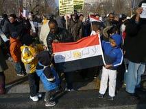 Crianças de encontro a Hosni Mubarak Fotos de Stock Royalty Free