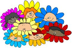 Crianças de flor ilustração do vetor