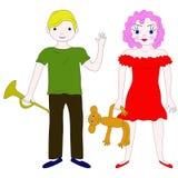 Crianças de idade escolar: menino e menina Fotografia de Stock Royalty Free