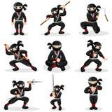 Crianças de Ninja em poses diferentes Foto de Stock