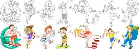 Crianças desportivos dos desenhos animados ajustadas ilustração royalty free