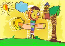 Crianças do desenho da ilustração que jogam no jardim foto de stock
