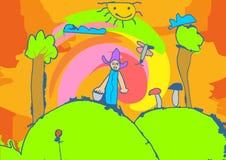 Crianças do desenho do Naif da ilustração que jogam no jardim fotos de stock