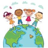 Crianças do globo Dia da Terra das crianças Vetor Imagens de Stock Royalty Free